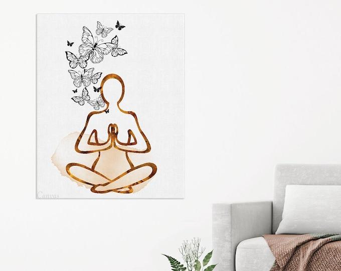 Yoga Pose Print, Watercolor  Art, Yoga Poster, Meditation Art Print, Yoga Studio Décor, Yoga Instructor Gift, Bedroom Wall Art