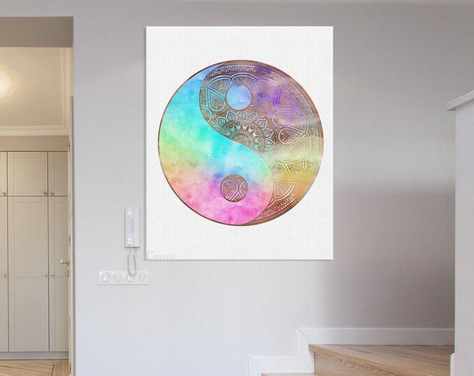 Mandala Artwork, Yin Yang Symbol, Meditation Art, Zen Wall Art, Cultural Wall Art, Spiritual Art, Yoga Art, Healing Art, Rainbow Print