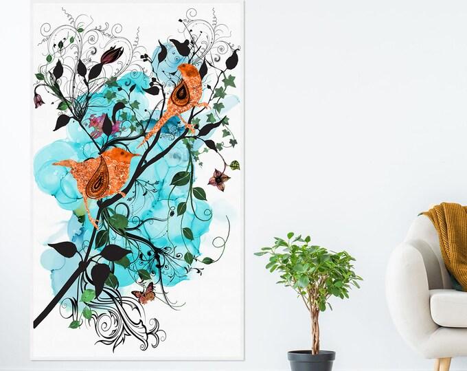 Large Canvas Art, Floral Art, Love Birds Art, Bird illustration, Large Wall Art, Blue Wall Art