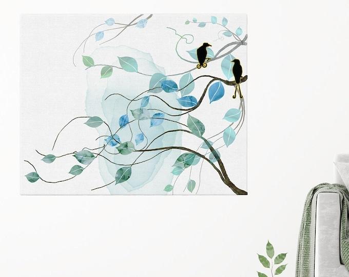 Large Leaves Painting, Scandinavian Large Wall Art, Original Leaves Artwork, Birds Print, Wall Art, Scandinavian Wall Décor