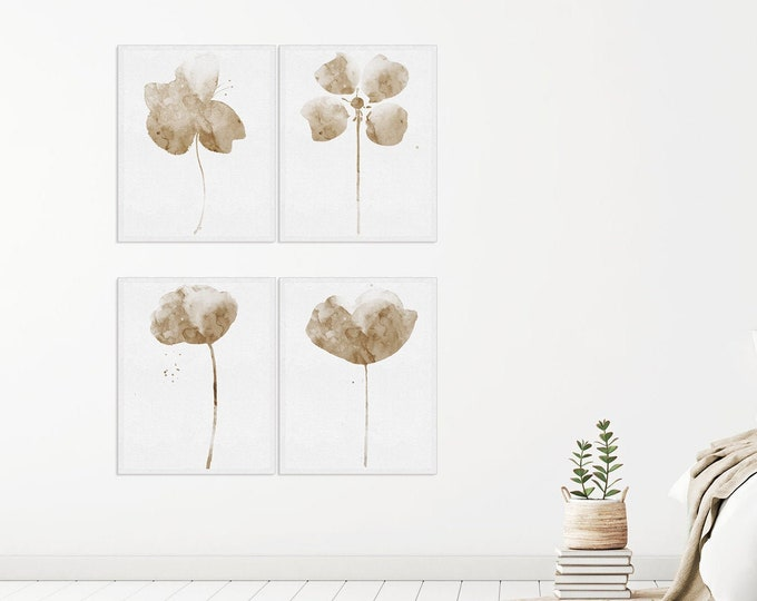Abstract Flower, Set of 4 Prints, Watercolor Print, Floral Prints, Minimalist Art, Botanical Print, Taupe Décor, Home Wall Décor