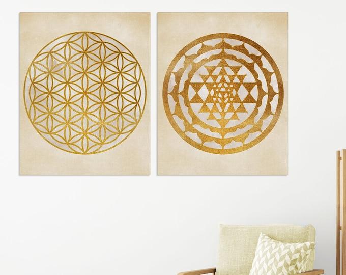 Set Of 2 Prints, Sacred Geometry Wall Art, Sri Yantra, Flower of Life, Torus, Yoga Wall Décor, Home Meditation Décor, Zen Art