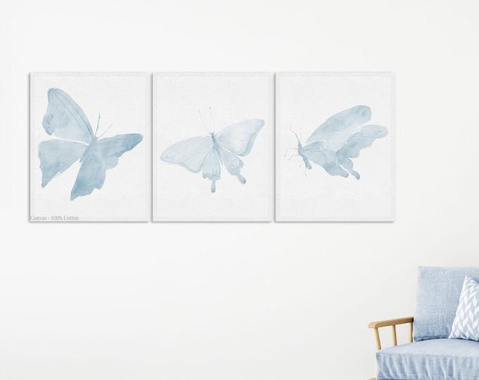 Light Blue, Butterfly Print, Boy Bedroom Décor, Butterfly Art Print, Wall Art, Farmhouse Nursery Décor, Set of 3 print, Canvas Wall Art