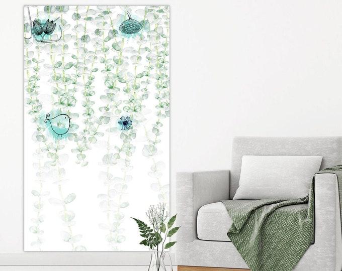 Botanical Green Art, Large Vertical Wall Art, Canvas Art, Oversize Wall Art, Green Botanical Art, Extra Large Wall Art, Vertical Painting