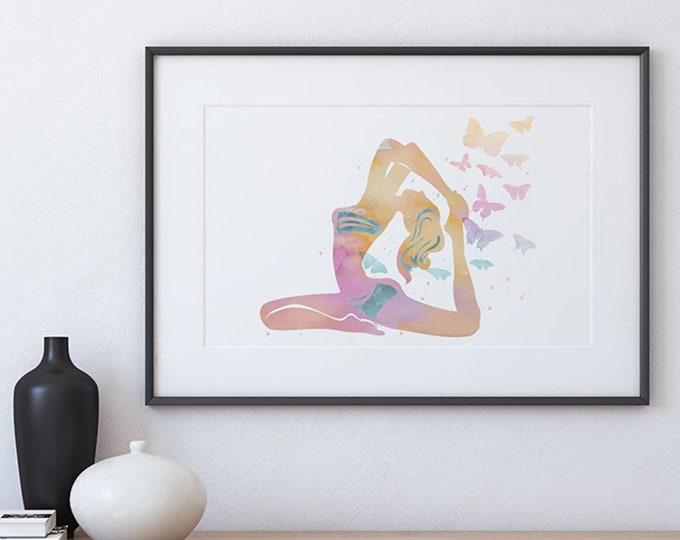 Pigeon Pose, Yoga Butterfly, Watercolor Print, Yoga Poster, Meditation Art Print, Yoga Illustration, Studio Wall Décor