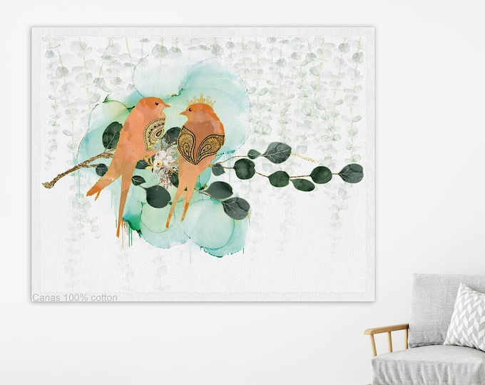 Birds Lover Gift, Birds Painting, Large Art Print, Minimalist wall art, Bedroom Wall Art, Large Bedroom Art, Bedroom Wall Décor, Canvas Art
