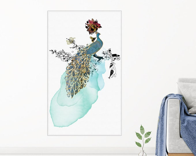 Canvas Painting | Prancing Peacock  Oversized Wall Art | Peacock Art Print | Wildlife Art | Peacock Canvas | Bird Lover Gift | Bird Wall Art