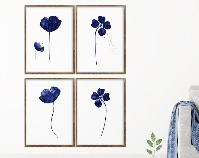 Flower Print, Set Of 4, Navy Blue, Wall Art, Watercolor Painting, Home Décor, Floral Décor
