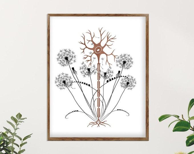 Neuron Art, Anatomy Vintage, Brain Art, Medical Floral Print, Medical Clinic Décor, Neurology Wall Art, Medical Student Gift