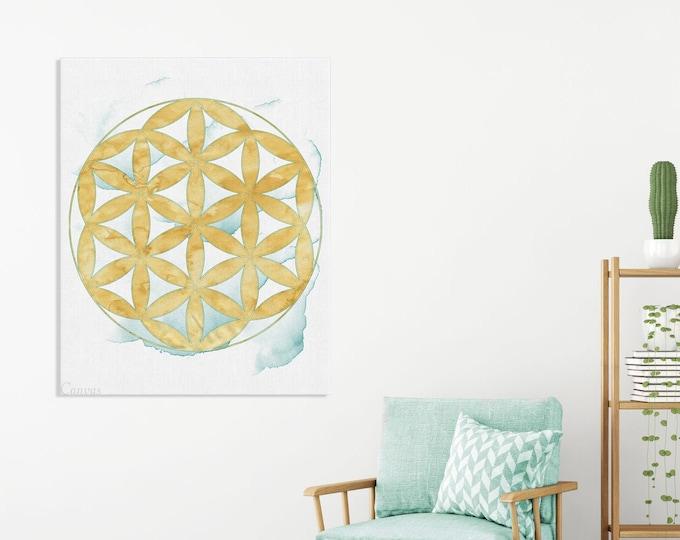 Flower of Life, Canvas Wall Art, Zen Wall Décor, Sacred Geometry, Wall Art, Living Room, Home Decoration, Yoga Meditation