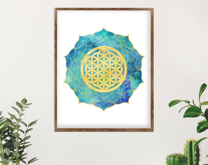 Mandala Art, Sacred Geometry, Meditation Gift,  Spiritual, Living Room Décor, Yoga Poster, New Home Gift, Bohemian Decoration