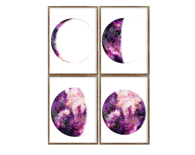 Galaxy Print, Set of 4 Print, Moon Phase Print, Lunar Phases Print, Moon Art, Moon Phases, Moon Poster, Scandinavian Print, Large Print