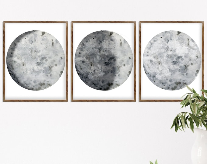 Celestial Wall Décor Print, Black and White, Set of 3 Print, Lunar Phases Print, Moon Phases, Moon Poster, Scandinavian Print