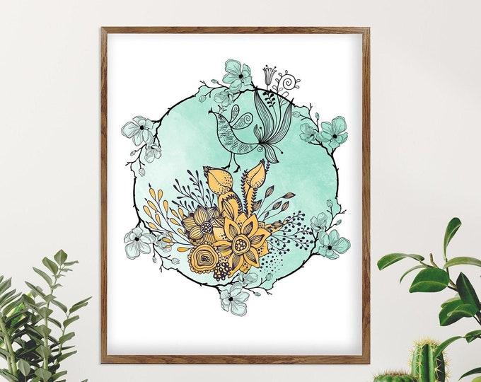 Mandala Wall Art, Floral Art, Bird Art Print, Mandala Painting, Bohemian Wall Décor, Mandala Art, Modern Floral Painting