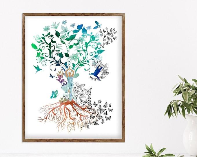 Tree of life painting, Mindfulness Gift, Abstract Nature, Home Décor, Yoga Studio Wall Art, Minimalist Art Print, Family Tree Art