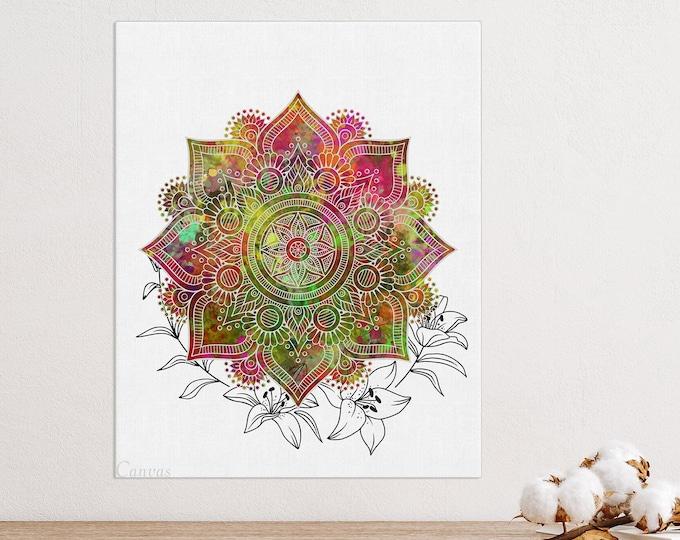 Flower Mandala, Mandala Wall Art, Colorful Bohemian Wall Décor, Bedroom Decoration, Living Room Décor, Yoga Room Art