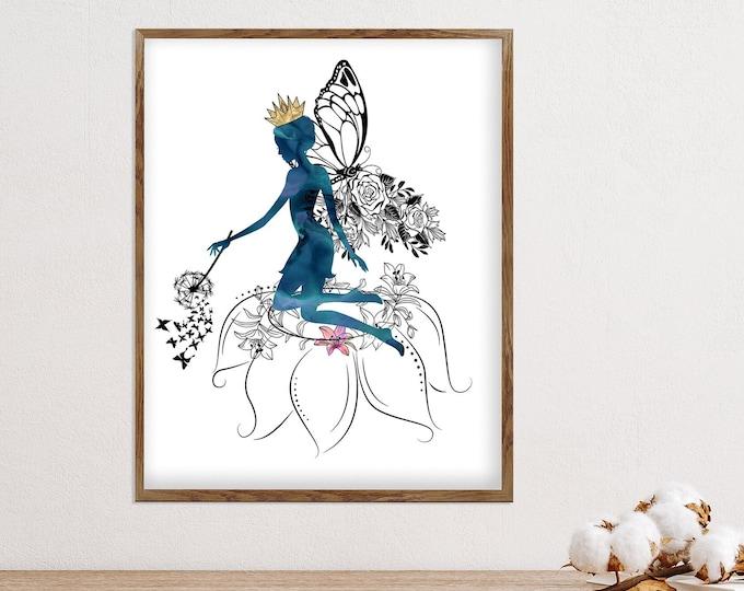 Fantasy Art Print, Fairy Print, Fairytale, Watercolor Art, Nursery Décor, Girl Room, Watercolor Fairy, Whimsical Woodland