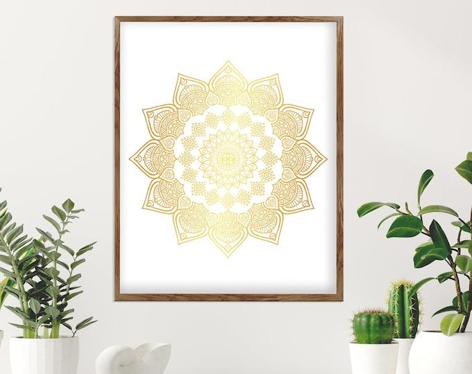 Mandala Wall Art, Yellow White Bohemian Wall Décor, Flower Mandala, Bedroom Decoration, Living Room Décor, Yoga Room