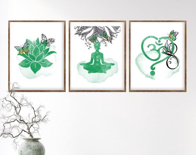 Set Of 3 Prints, Yoga Wall Art, Meditation Art, Zen Art, Spiritual Art, Sacred Wall Art, Wall Art Canvas, Om Symbol, Lotus Decor, Yoga Decor