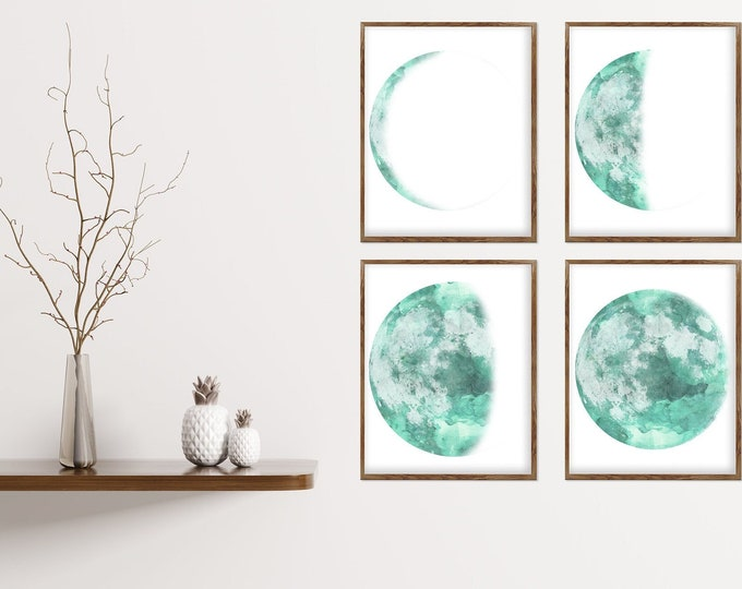 Lunar Phases Wall Art, Set of 4 Moon Prints, High-Quality Moon Phases Poster, La Lune, Sacred Moon, Above Bed Art, Space Print