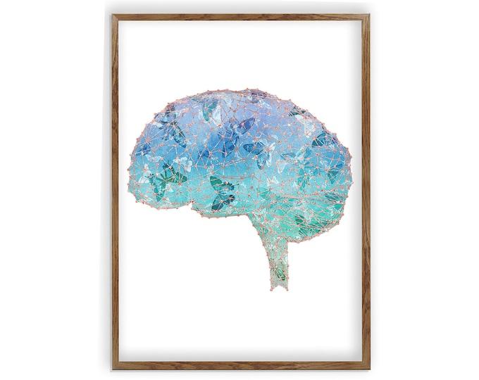 Cerebrum Anatomy Print, Medical Poster, Med School, Psychology, Neurologist gift, Psychologist Gift Idea,  Medical Decor, Brain Art