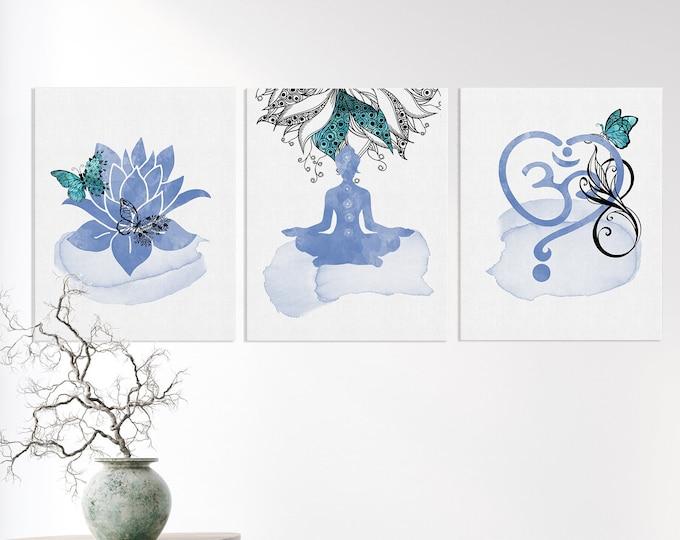 Set Of 3 Prints, Yoga Wall Art, Spiritual Art, Zen Illustration, Studio Decoration, Yoga Prints, Om Décor, Lotus Flower