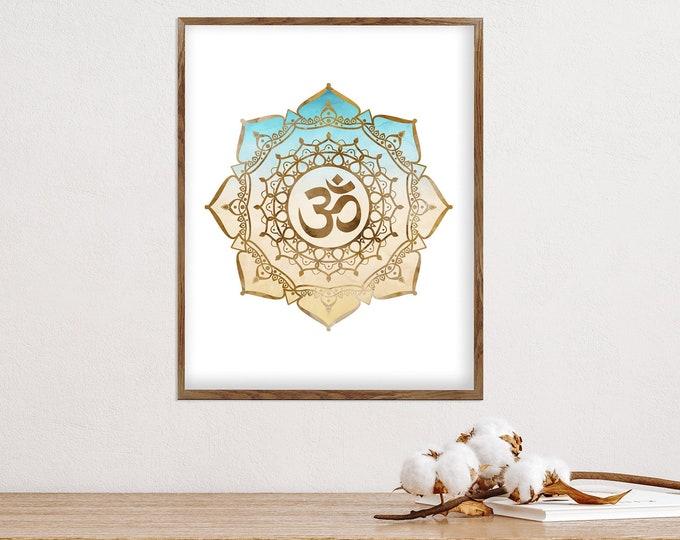Yoga Wall Art Print, Om Symbol, Watercolor Yoga Gift, Namaste Art, Zen Décor, Yoga Studio Decoration