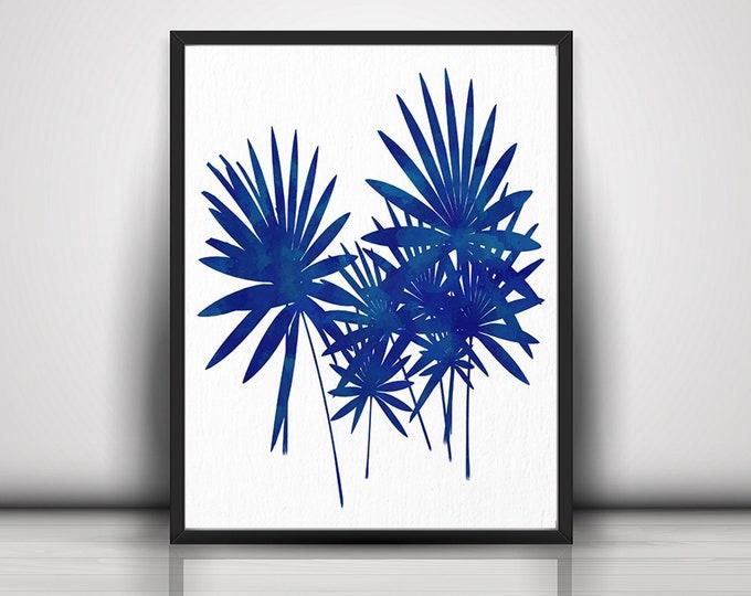 Palm Leaf Print, Art Print, Leaves Poster, Wall Art, Home Décor, Large Canvas, Wall Print, Tropical Leaf Print, Blue Decoration