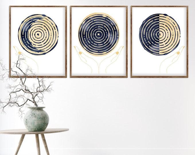 Moon Phases Print Set, Set of 3 Prints, Blue Moon, Watercolor Art, Moon Phase, Celestial Wall Art, Lunar Poster, Blue Moon Prints