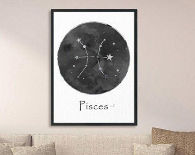 Pisces Personalized, Black White Wall Art, Zodiac Sign Print, Art Print, Birth Month, Astrology Print, Zodiac Art, Celestial Art
