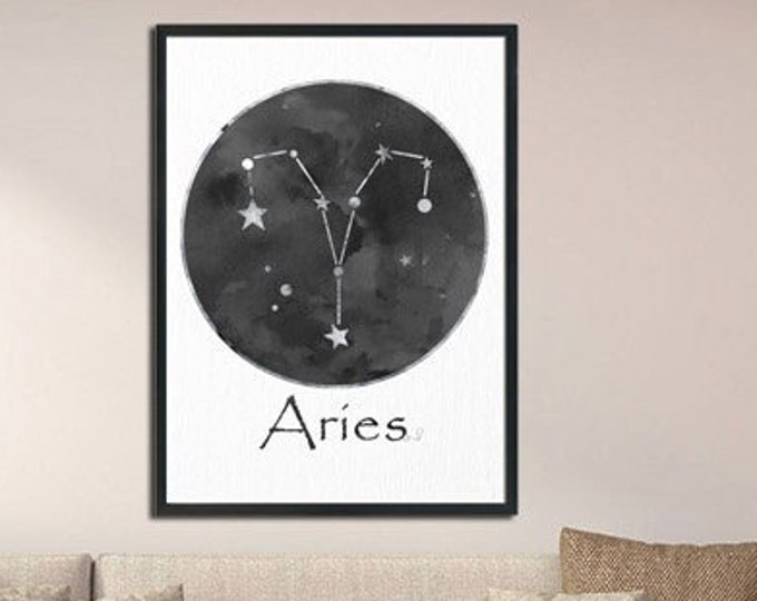 Aries Personalized, Black White Wall Art, Zodiac Sign Print, Art Print, Birth Month, Astrology Print, Zodiac Art, Horoscope Celestial Art