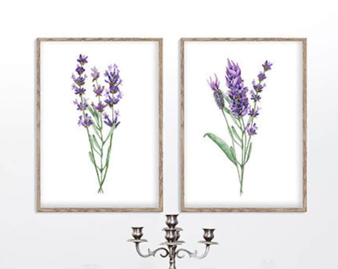 Lavender Painting, Lavender Wall Art, Wall Art, Lavender Flower, Set Of 2 Prints, Home Décor, Living Room Wall Art