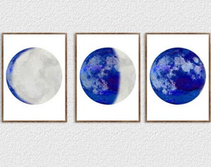 Blue Moon Print, Set of 3 Print, Moon Phase Print, Lunar Phases Print, Moon Art, Moon Phases, Moon Poster, Scandinavian Print, Large Print