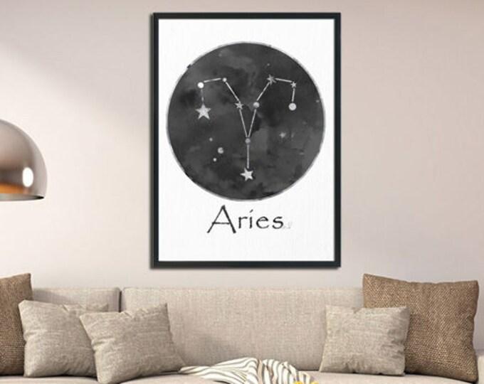 Aries, Star Sign Print, Zodiac Wall Art, Star Sign Wall Art, Home Décor, Wall Art