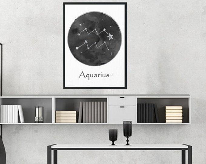 Aquarius Print, Aquarius Zodiac, Aquarius, Birthday Gift, Aquarius Constellation, Black and white, Wall Art