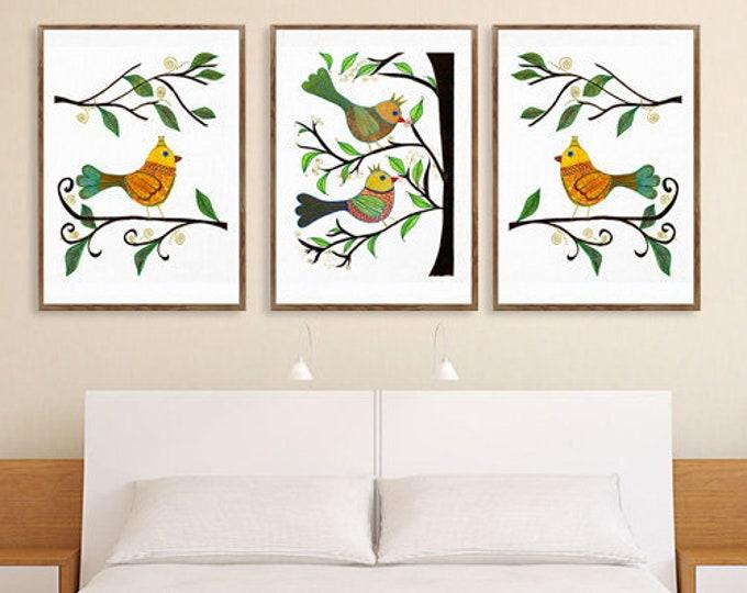 Set of 3 Art Birds, Whimsical Birds, Nursery Wall Decor, Kids Room Prints, Watercolor birds, Bird Lover Gift, Bird Wall Art, Kids Birds