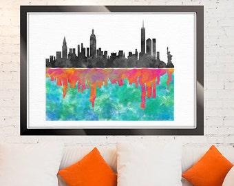 New York Skyline, NYC watercolor print, Wall Art, Colorful Skyline, Cityscape print, Manhattan Skyline, NYC Painting Home Decor Art Prints