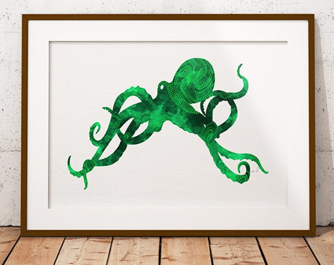 Green Emerald Octopus, Beach Decor Octopus, Art Print Green, Minimalist Art, Sea Life Art,  Nautical Art, Unframed  Print, art illustration