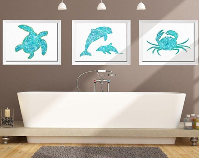 Oceanic life Set Of 3 Coastal Wall Art Bathroom Wall Art Nautical Decor Sea Life Prints Beach Decor crab Print Sea Turtle Print, Dolphin Art