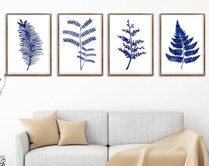 Set of 4 Ferns, Wall Art, Set of 4 Print, Botanical Prints, Botanical Wall Art, Wall Décor, Fern Art, Blue and White, Bathroom Décor