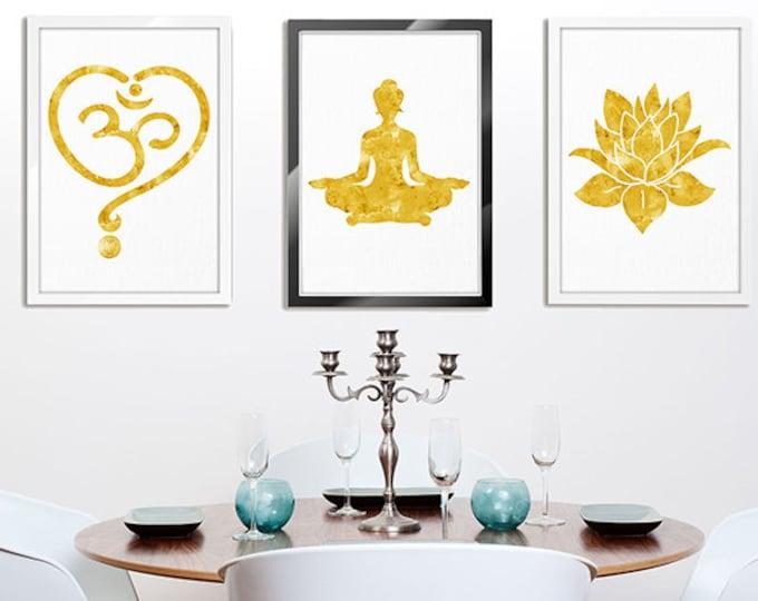 Set Of 3 Prints, Yoga Wall Art, Meditation Art, Zen Art, Spiritual Art, Sacred Wall Art, Bedroom Wall Decor, Om Symbol, Lotus Decor, Yoga