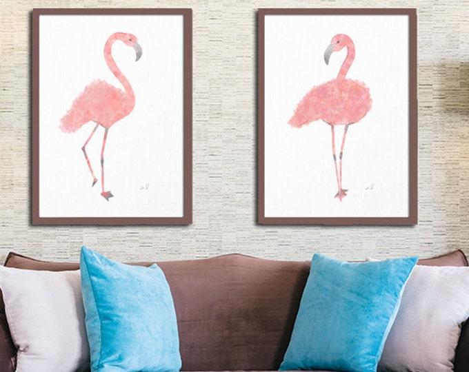 Flamingo Art Print, Pink Home Decor, Tropical Wall Art, Beach Art, Pink Bird Wall Decor, Flamingos Wall Art, Flamingo Watercolor Painting