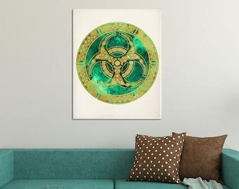 Spiritual Art Home Decor, Sacred Geometry Mandala, Green Emerald Wall Decor, Mandala Decor, Mandala Print, Yoga Studio Decor, Buddhist Decor
