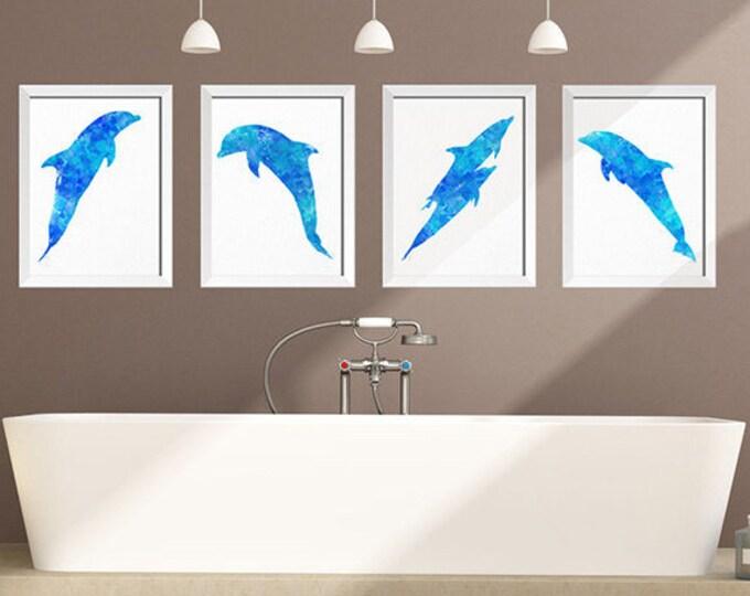 Dolphin Wall Art, Set of 4 Nautical Prints, Dolphin Nursery Decor, Ocean Kid Room, Dolphin Watercolor, Dolphin Wall Art, Ocean Animal Prints