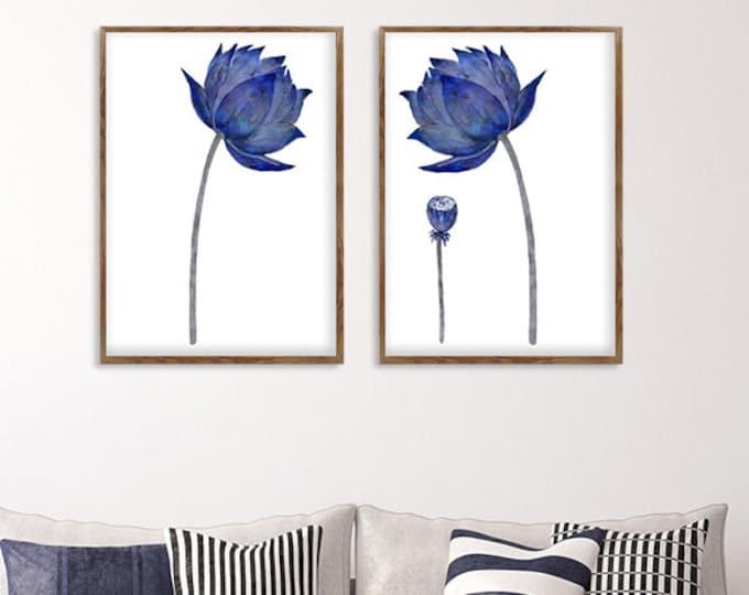 Watercolor Lotus, Lotus Flower Art, Blue And White Art, Set Of 2 Prints, Living Room Decor,  Canvas Print, Minimalist Art, Floral Wall Art