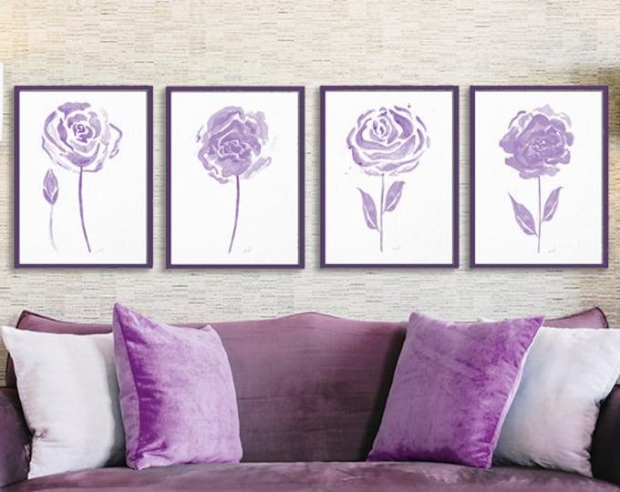 Modern Flower Bursts, Light Purple Cottage, Neutral Colors, Fine Art Print, Home Bedroom, Wall Art Set of (4), Unframed Prints or Canvas