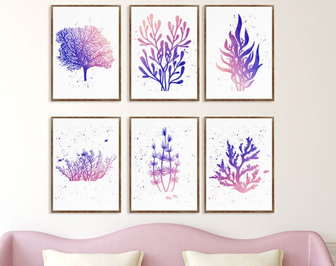 Set of 6 Print, Coastal Wall Art, Seaweed Watercolor, Sea Coral Décor, Navy Coral, Art Print Bathroom Decor Coral Blue Theme Botanical Print