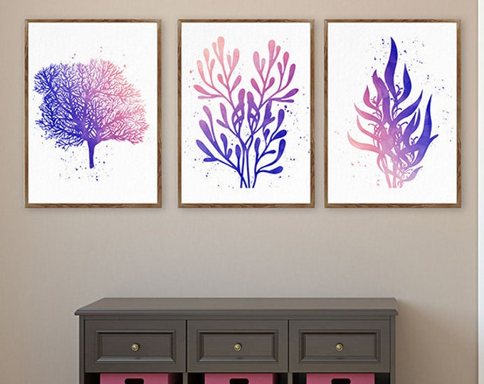 Set Of 3 Sea Coral Art Set, Fan Coral, Seaweed Wall Art, Watercolor Coral Poster, Office Wall Art, Beach Themed Decor, Coral Blue Set Prints