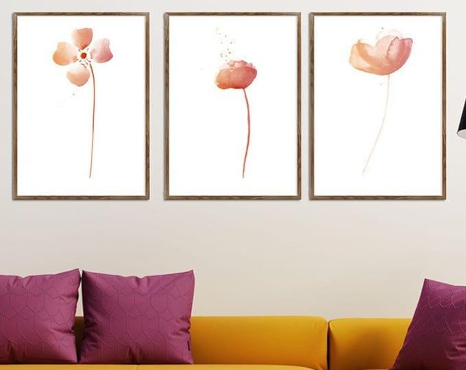 Flower Prints, Blush Flowers, Gallery Wall, Set of 3 8x10, Blush Wall Art, Botanical Gallery, Blush Gallery Wall, Blush Pink Flower Prints