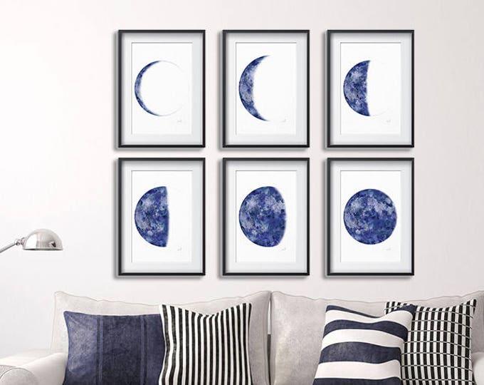 Moon Phase Print, Blue Moon Print, Set of 6 Print, Lunar Phases Print, Moon Art, Moon Phases, Moon Poster, Scandinavian Print, Large Print